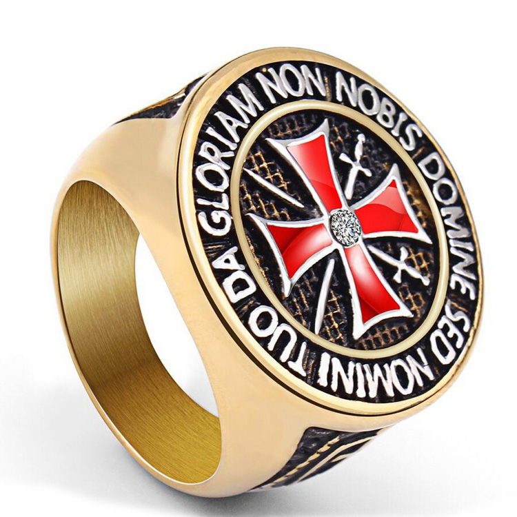 High Quality Retro Type Stainless Steel Knights Templar Men's Cross Ring Design