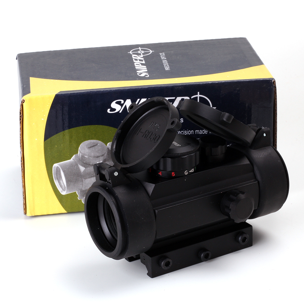 Sniper Tactical Optics 1X30RD 5 MOA Illuminated Red/Green Dot Sight Scope With 20mm/11mm Picatinny Weaver Rail
