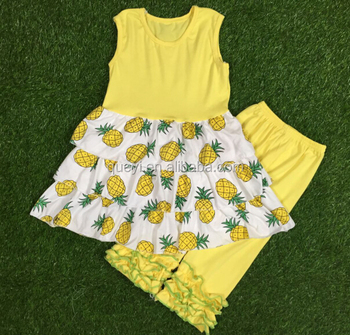 Toddler Girl Clothes Boutique Summer Girls Pineapple And Icing Yellow Pants Wholesale