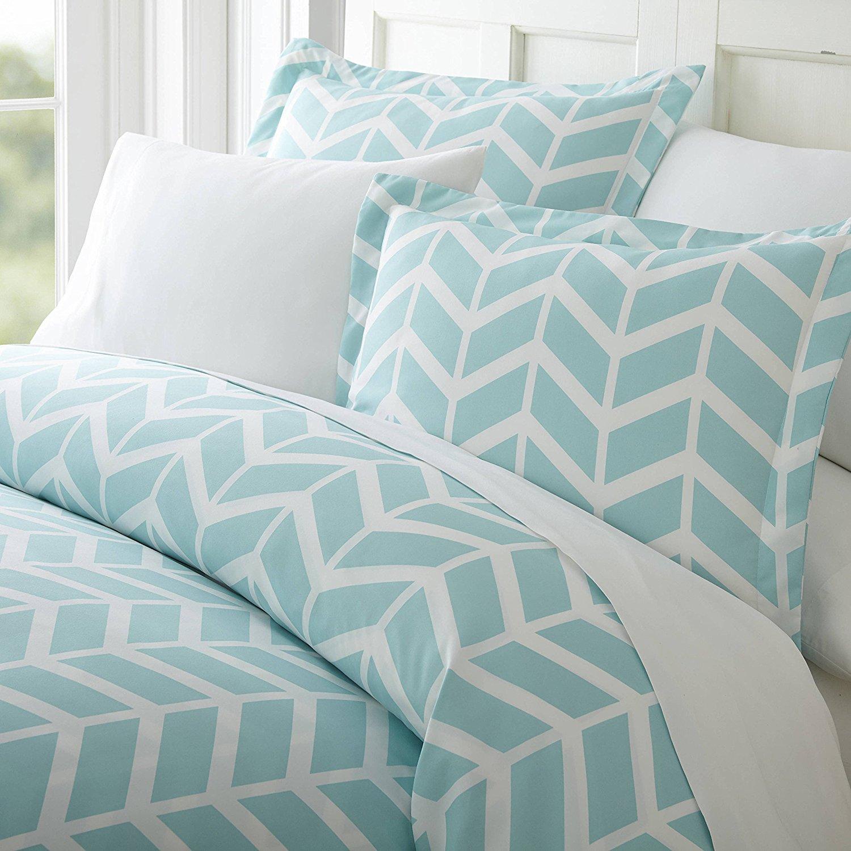 3 Piece Aqua Teal Grey White King Duvet Cover Set, Chevron Themed Reversible Bedding Beautiful Crisp Stylish Chic Modern Trendy Stripes Geometric Turquoise Gray, Microfiber