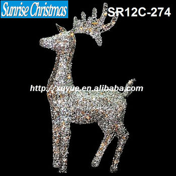 2012 new 3d led outdoor glittered silver christmas standing reindeer deer light yard decoration