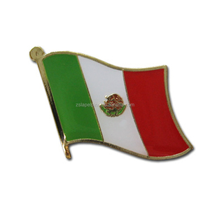 Mexico Wave Edge Flag Lapel Pin Different Shapes Nation Flag Pattern Lapel Pin
