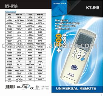 Air conditioner universal remote control kt 518 for a c for 1000 in 1 universal a c remote code table