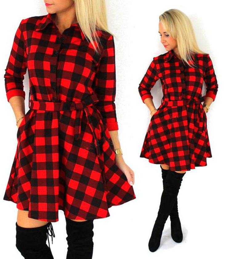 2017 Spring Casual Sexy Tantan Print Red and Black Women Plaid Flannel Shirt Dresses