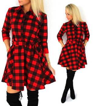 59629633928 2017 Spring Casual Sexy Tantan Print Red and Black Women Plaid Flannel  Shirt Dresses