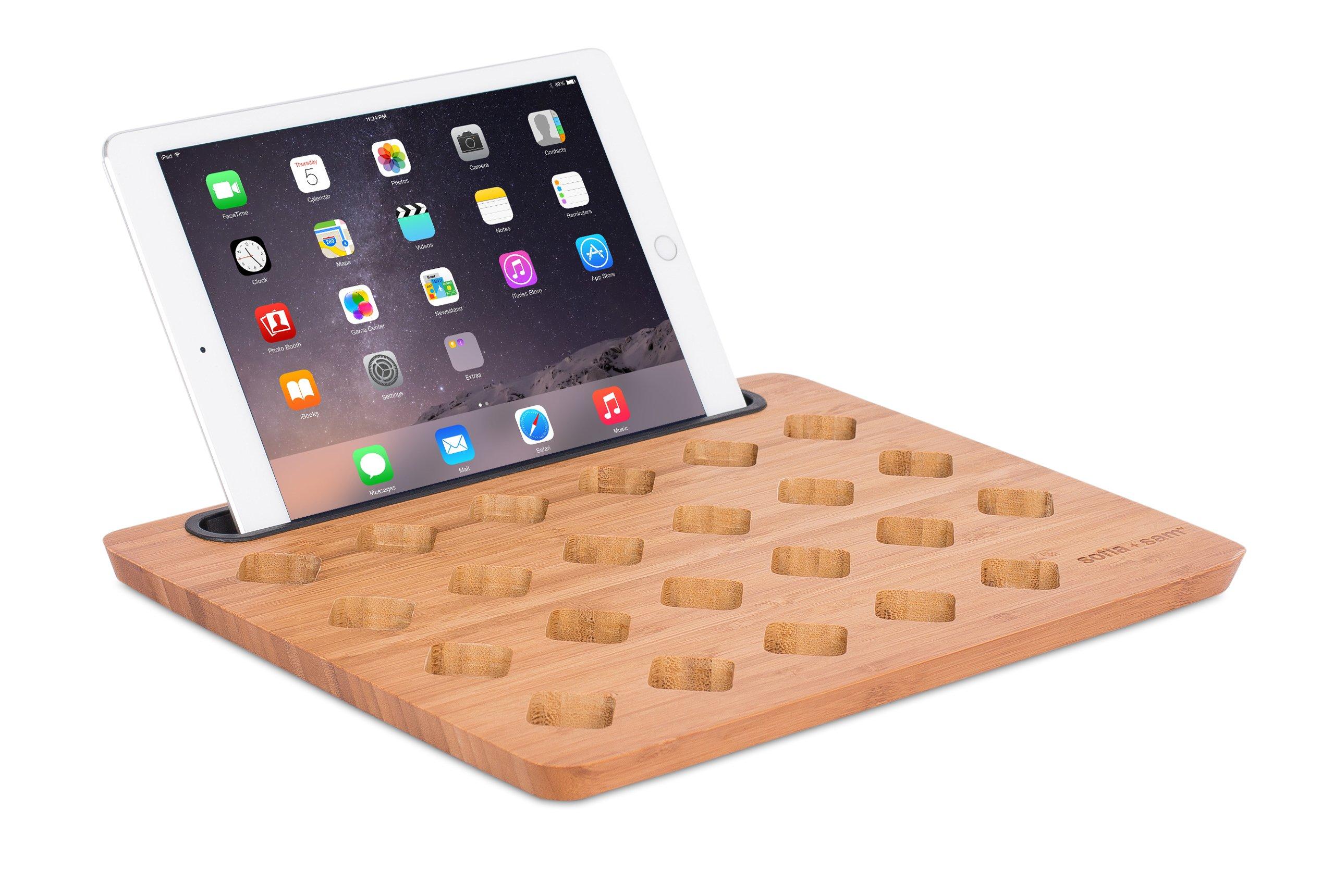 Sofia + Sam Bamboo Tablet Stand & Mini Lap Desk Board | Mini Lap Tray | Diamond Vent Holes | Tablet Slot | Fits 13 Inch Laptop