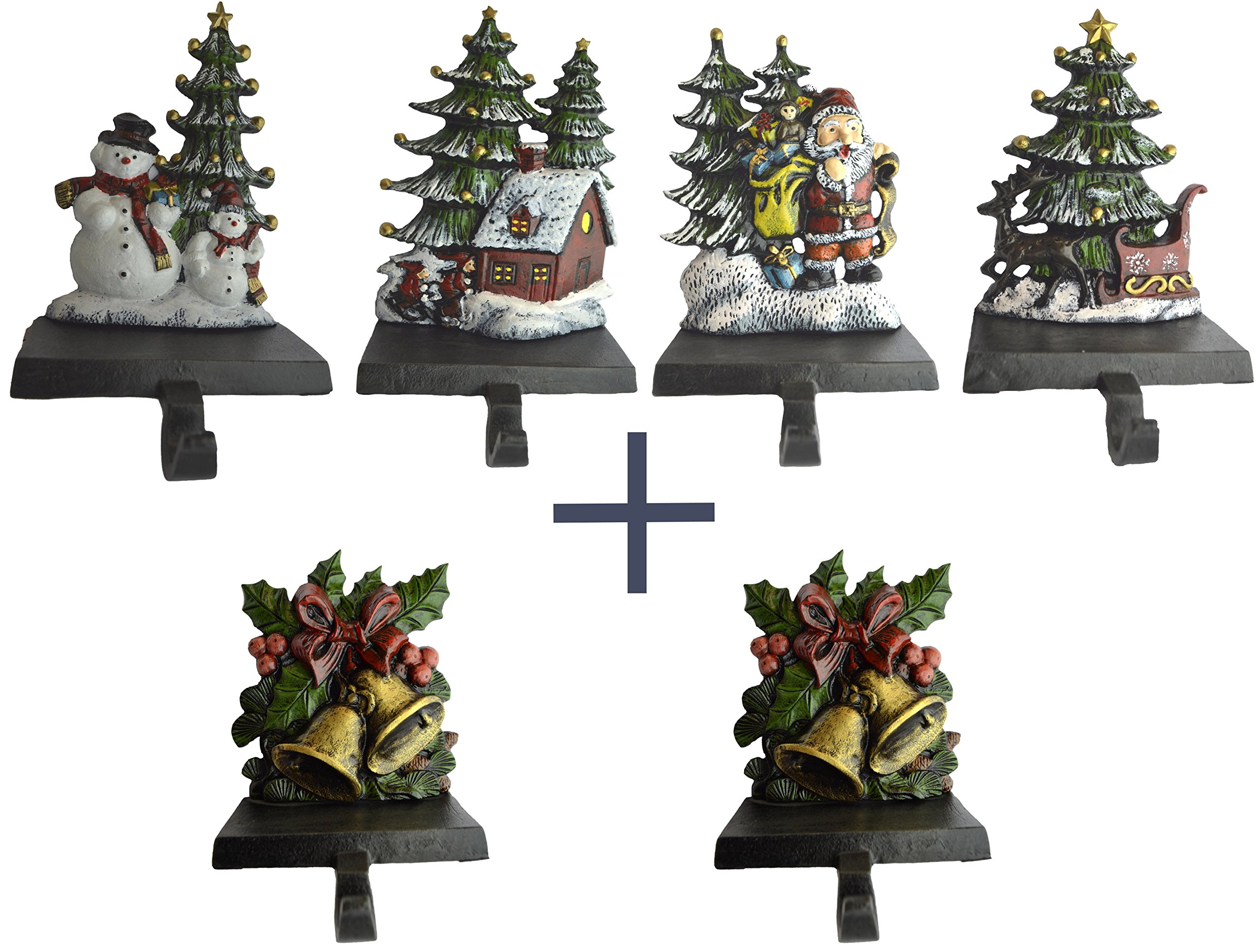 Lulu Decor, 100% cast iron combo Christmas Stocking Holders, set of 6 Pcs, trees with santa, sleigh, house and snowman + 2 Bells, solid appearance, beautiful products, each weighs 3 lb (Combo Deal HB)