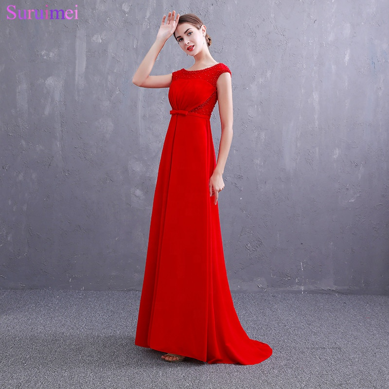 Real Photos Red Evening Gown Beaded Cap Sleeves V Back Chiffon Evening Gown Prom Dresses