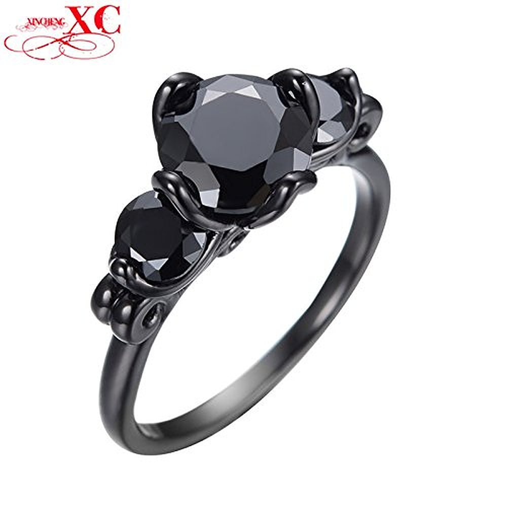 Sugar Memory Hot Selling Black Gold Filled Black Sapphire Jewelry Ring For Men Vintage Unisex Finger Ring Bague Femme Bijoux
