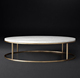 Concise stainless steel gold legs natural marble top coffee table