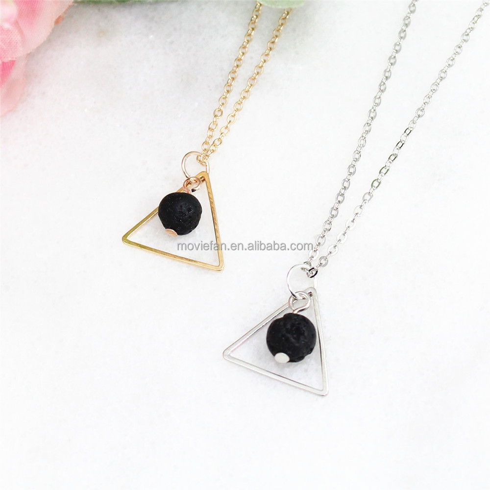 Triangle Essential Oil Diffuser Lava Stone Necklace Minimalist Diffuser Jewelry Gift for Her Mothers Day фото