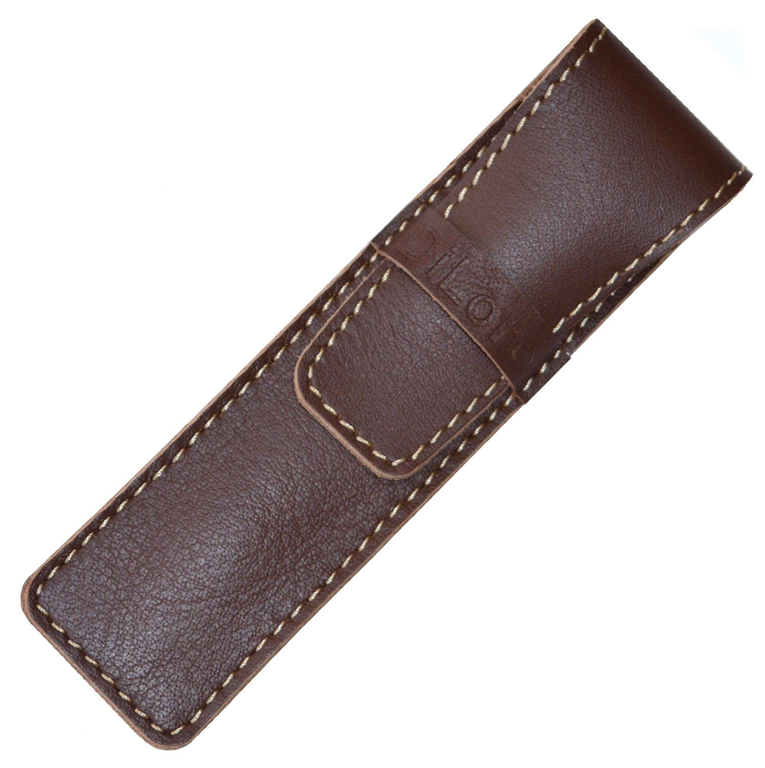 DiLoro Full Grain Top Quality Thick Buffalo Leather Single Pen Case Holder Brown with Promo Logo