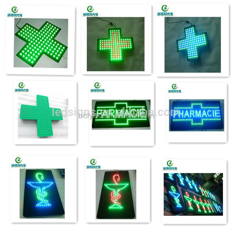Moon Shape LED Time Temperature Pharmacy Cross Display Sign