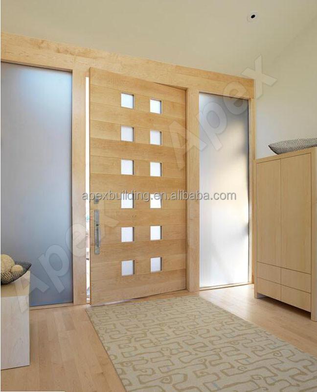 Single Swing Interior Glass Insert Teak Solid Wood Doors Buy Glass