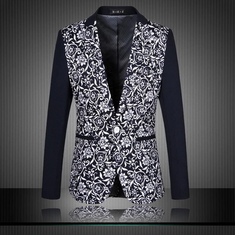 3aaae8dc873 Plus Size Flroal Blazer Men XXXXL 6XL Printed Suit Jacket Causual Slim Fit  Luxury Vintage Outwear Blazer Hombre Male Jacket