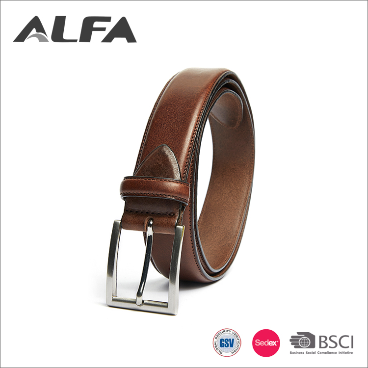 Alfa SGS Handmade Leather Belts Customized Size Brown Business Dress Belt For Men