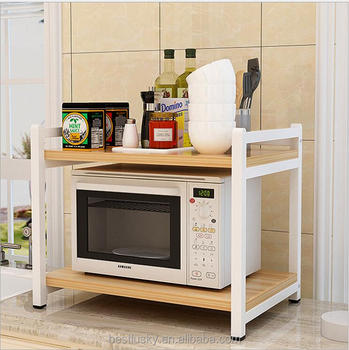 Kitchen Microwave Storage Shelf Wooden Microwave Oven Stand With Metal Frame
