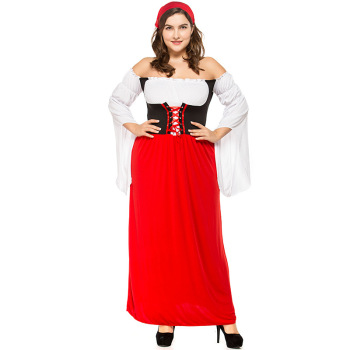 Women's German Dirndl Long Dress Costumes for Bavarian Oktoberfest Carnival Halloween Costumes For Women Plus Size