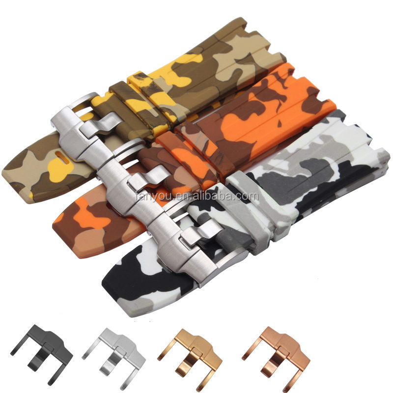 28MM Multicolor Soft Sport Camouflage Silicone Watch Strap Rubber With Pin Buckle For Ap Watch
