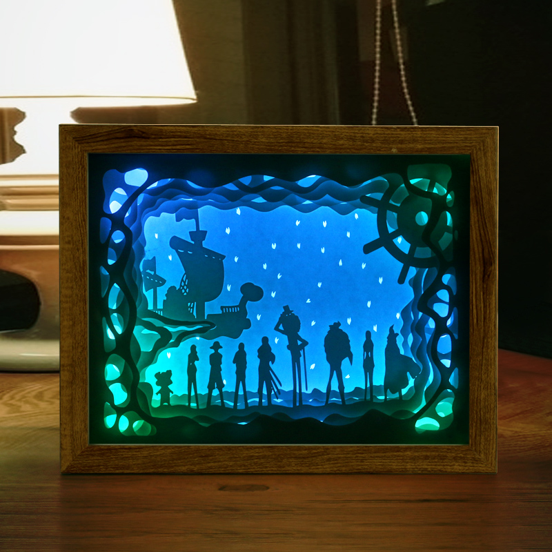 Black Wall Art: Automatically Color Change Paper Craft Shadow Picture Box