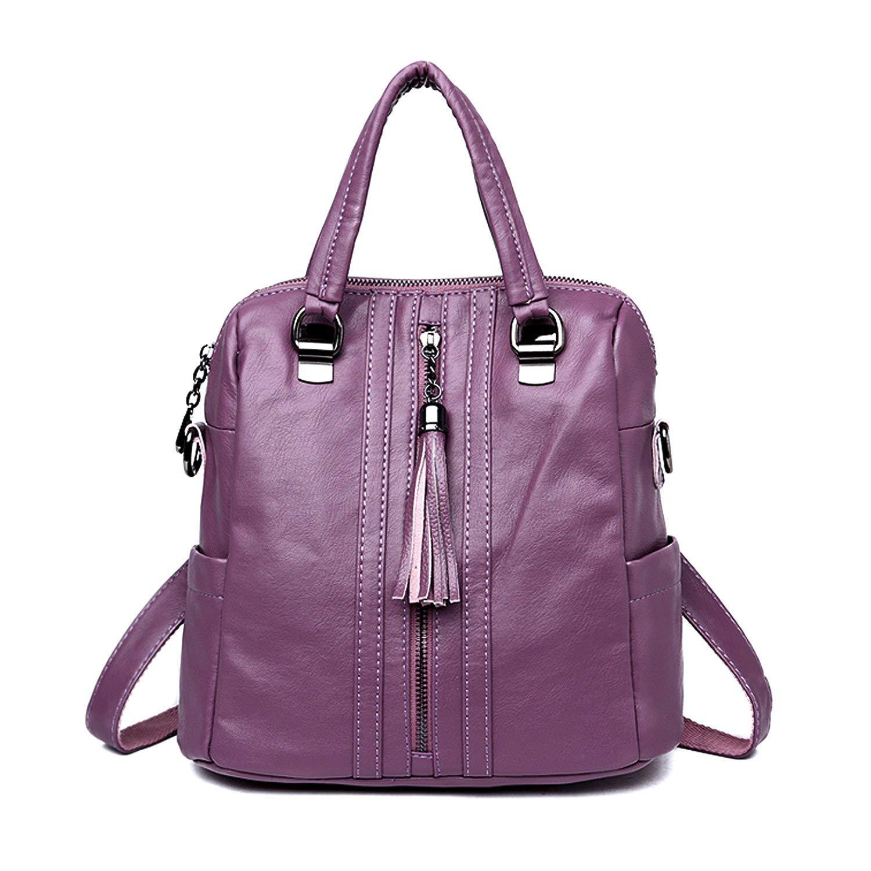 03bf729e8dee Get Quotations · Women Backpack Purse PU Leather Backpck Handbag Daypack  Purse with Tassel Zipper Shoulder Handbag Ladies Rucksack
