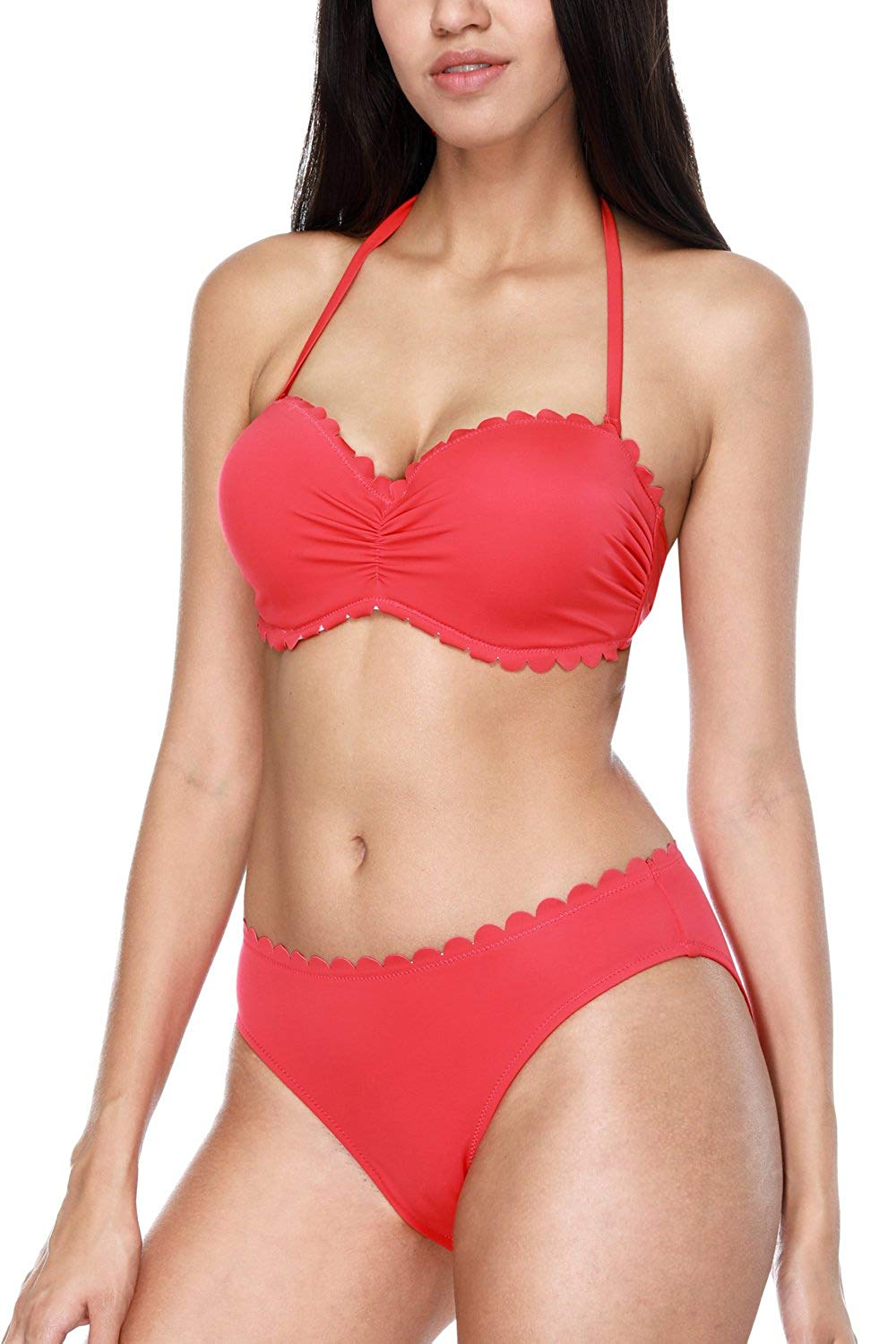 5126644c22fbf Get Quotations · CharmLeaks Womens Rerto Two Piece Bikinis Halter Bikini  Swimsuit Sets with Underwire
