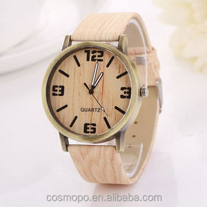 Hot sale lady timepieces,fashionable Wooden grain dial women watches with leather strap