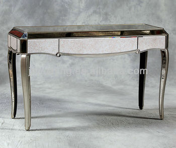 Classic French Style Antique Silver Trimmed Bedside Mirrored