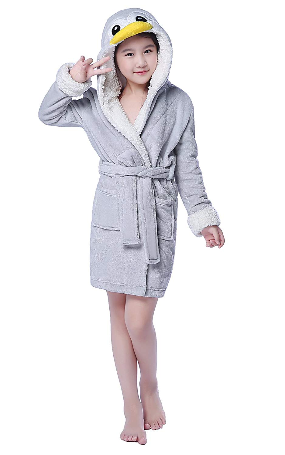 181a6b2f39 Get Quotations · NEWCOSPLAY Children Grey Penguin Bathrobe Robe Cosplay  Hooded Pajamas