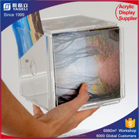 custom acrylic photo cube frames,4 sided acrylic magnetic photo frame