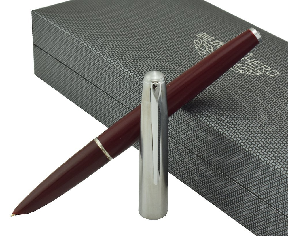 Hero 100 Fountain Pen Vintage 14K Solid Gold Fine Nib,Silver Cap, Brown Barrel in Luxury Gift Case Set for Executive Signature Writing and Collection