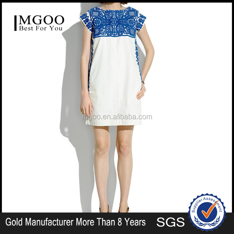 MGOO Hot Sale Custom OEM Services Elegant Linen Cotton Dress Femal Casual Ethic Blue Embroidery Shift Dress 0007