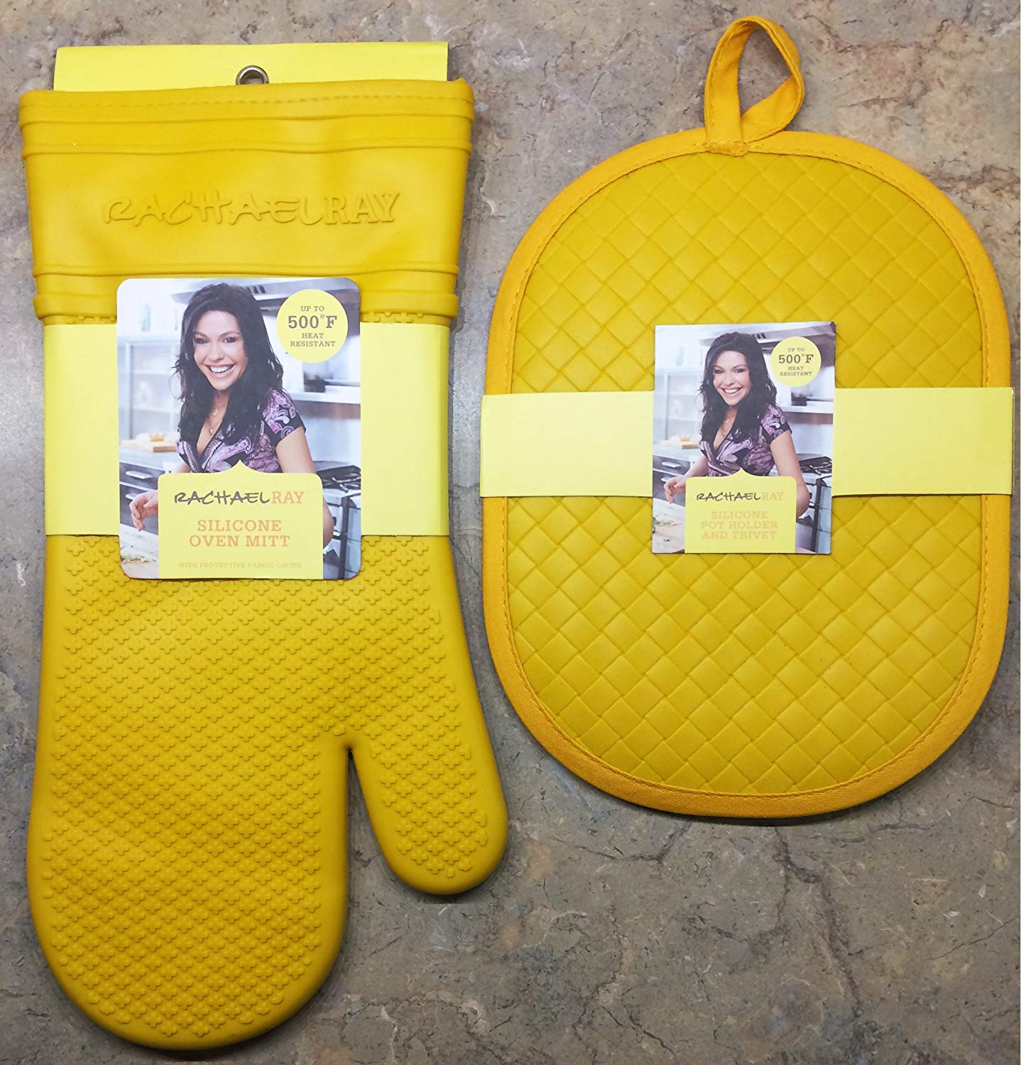 Rachael Ray Kitchen Essentials Set | Silicone Pot Holder And Trivet + Silicone Oven Mitt With Protective Fabric Lining | Up To 500 Degrees F Heat Resistant | Non Slip Grip (Yellow)