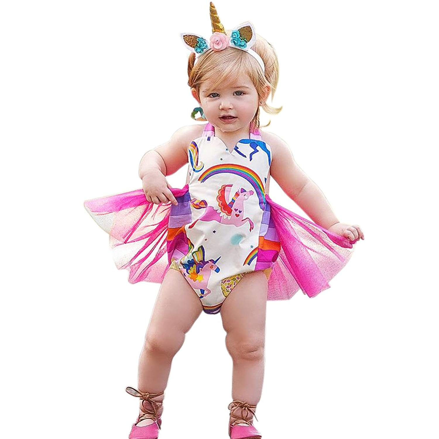 Cute Unicorn Poop Picture Infant Climbing Clothes Romper Funny Jumpsuit Outfits