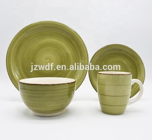Good Quality Porcelain Vajilla Cheap Price 16pcs Stoneware Han Painted Dinnerware Set