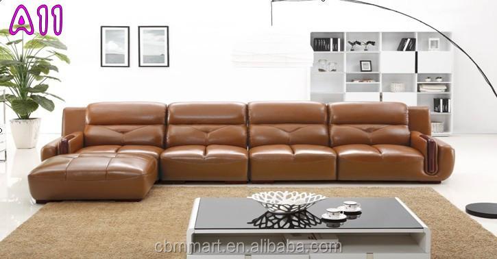 Licht bruin lederen sofa woonkamer modern design sofa meubelen ...