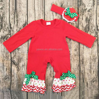 Christmas Party Wear Infant Babies Red Romper One-piece Boutique Outfits Xmas Jumpsuit Chevron Print Bodysuit Climbing Clothes
