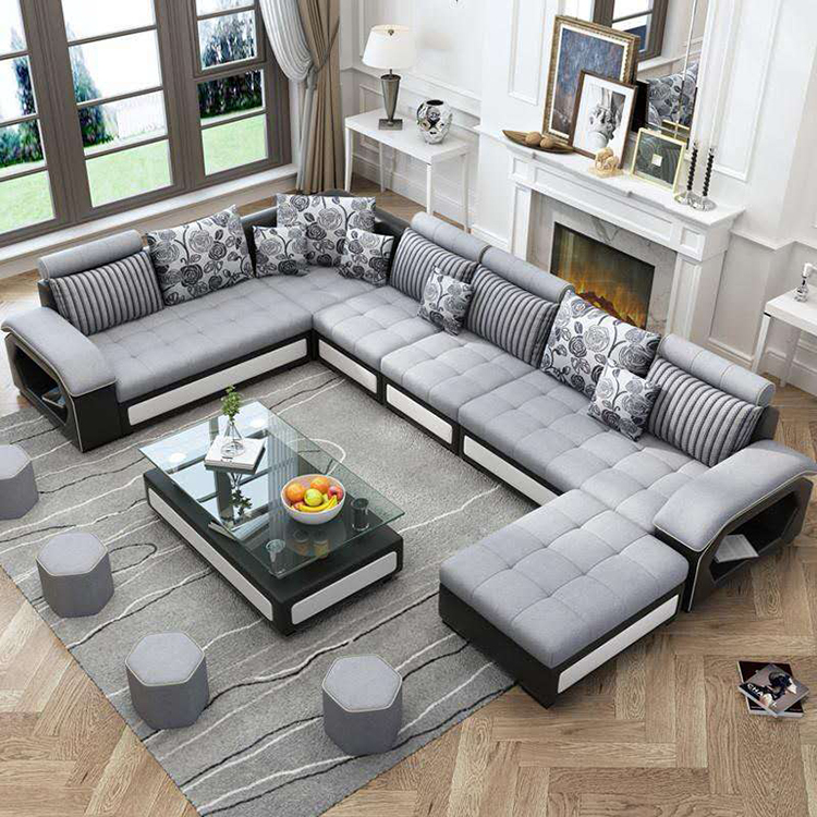 Chesterfield Furniture L Shape 7 Seater Wooden Sofa Design ...