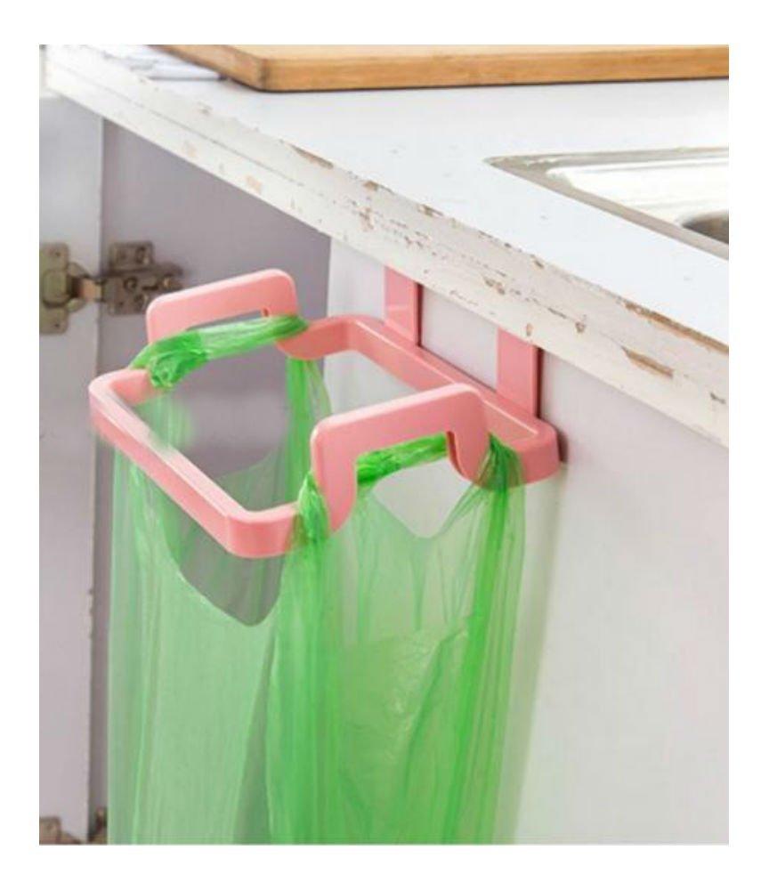 PINK Kitchen Hanging Trash Rubbish Bags Holder Garbage Storage Racks Cupboard Hanger