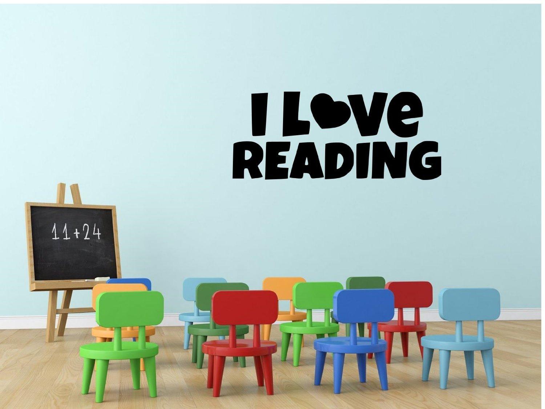 "I Love Reading Teacher Student Pupil Teaching Learning Education School Classroom Decor Wall Sticker 6"" H X 14"" W Black or White"