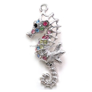 Colorful seahorse sea horse charms pink purple blue rhinestones animal pendant jewelry