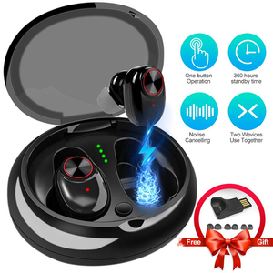 True tws headphone V5.0+EDR noise cancelling wireless earphone for xiaomi mi 8 redmi  bluetooth headset with charging case