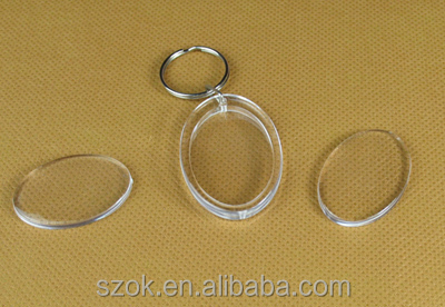 2014 elegant style clear acrylic oval shaped key chain promotional