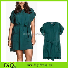 Pocket design large size casual dress for fat women short sleeve plus size dress