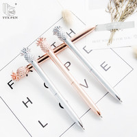 2018 New model custom decorate novelty gold metal ball pen with pineapple on top