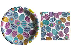 Easter Party Paper Plates and Napkins Bundle - 2 Items: One Pack of Easter Themed Paper Plates and One Pack of Coordinating Paper Napkins (Easter Eggs)