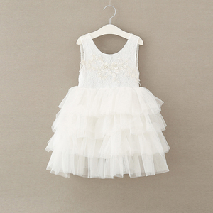 PHB12760 sweet lace white color European girls fairy dresses