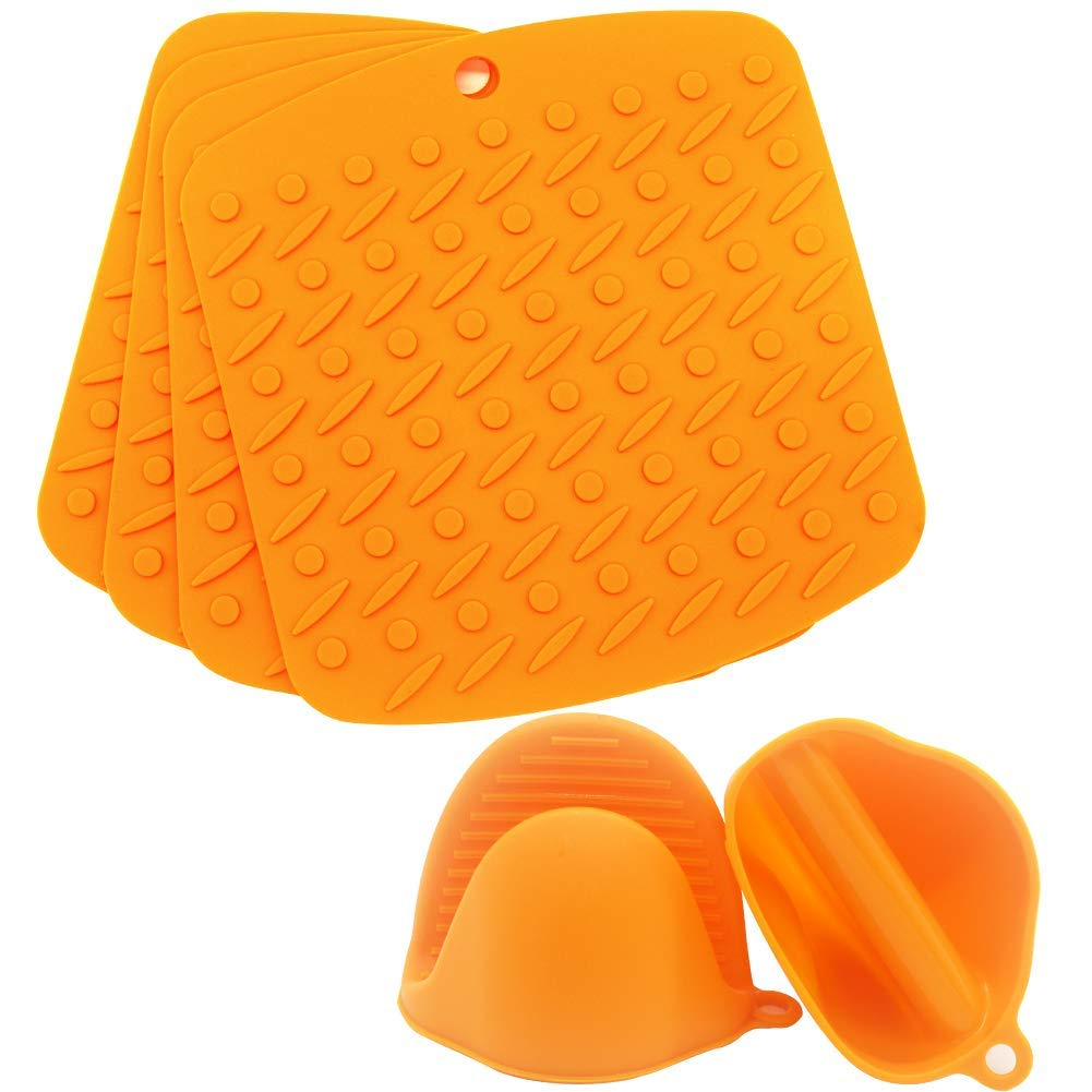Silicone Heat Resistant Pads 6 Pcs Set Include 4 Pot Holder and 2 Silicone Cooking Gloves, Spoon Rest, Coaster- Non Slip, Cooking Pinch Mitts, Mini Oven Mitts Gloves, Durable, Dishwasher Safe (Orange)