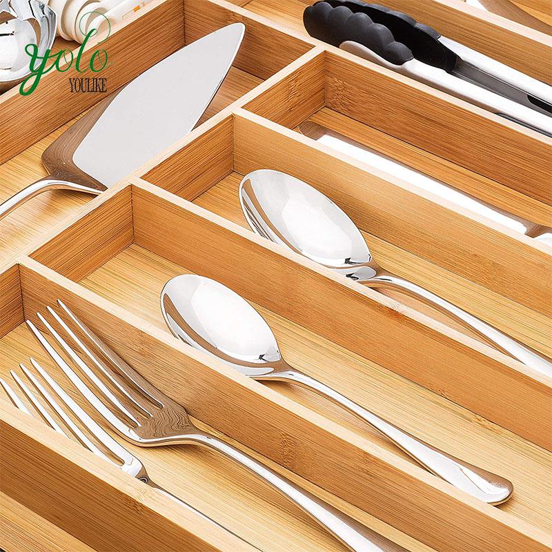 Wholesale 100% Pure Bamboo Expandable Adjustable Kitchen Drawer Organizer, Utensil Tray