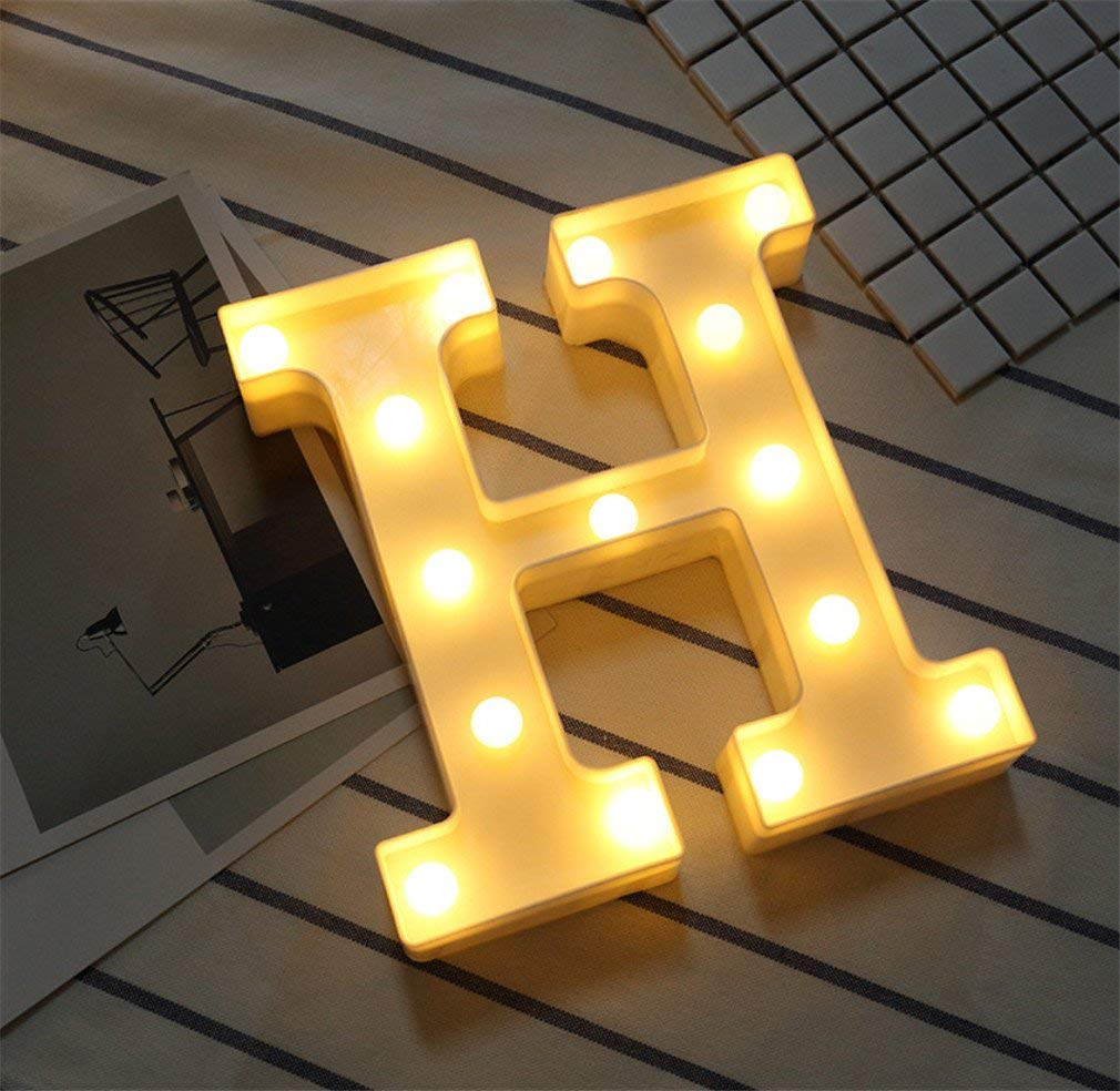 LUCKY CLOVER-A Alphabet Light Letter Lights LED Light Up White Plastic Letters Standing Hanging A-Z & 0-9 Shape Marquee Decoration Light Battery Operated Mood Light,H